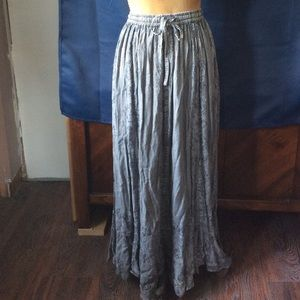 Sakkas Blue/grey stonewash embroidered boho skirt